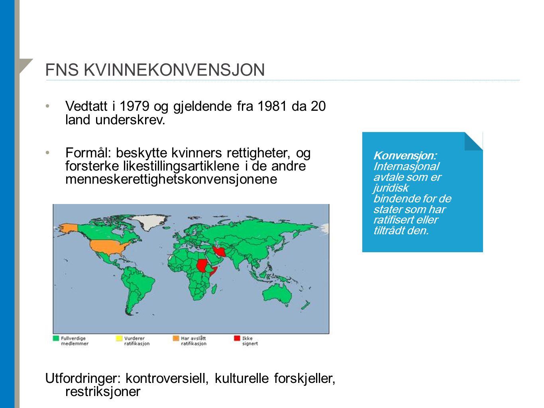 FNS KVINNEKONVENSJON Vedtatt i 1979 og gjeldende fra 1981 da 20 land underskrev. Formål: beskytte kvinners rettigheter, og forsterke likestillingsarti