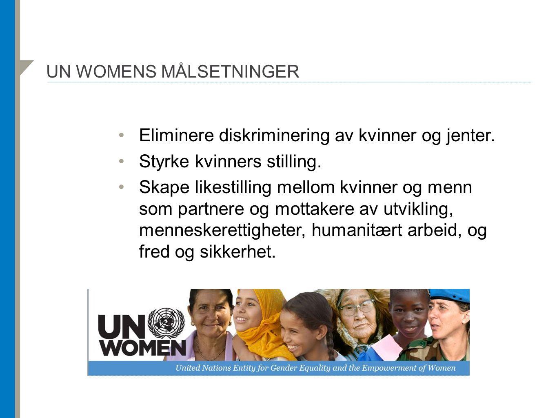 UN WOMENS MÅLSETNINGER Eliminere diskriminering av kvinner og jenter. Styrke kvinners stilling. Skape likestilling mellom kvinner og menn som partnere