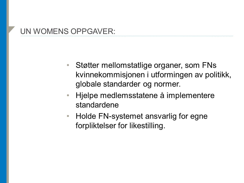 UN WOMENS OPPGAVER: Støtter mellomstatlige organer, som FNs kvinnekommisjonen i utformingen av politikk, globale standarder og normer.
