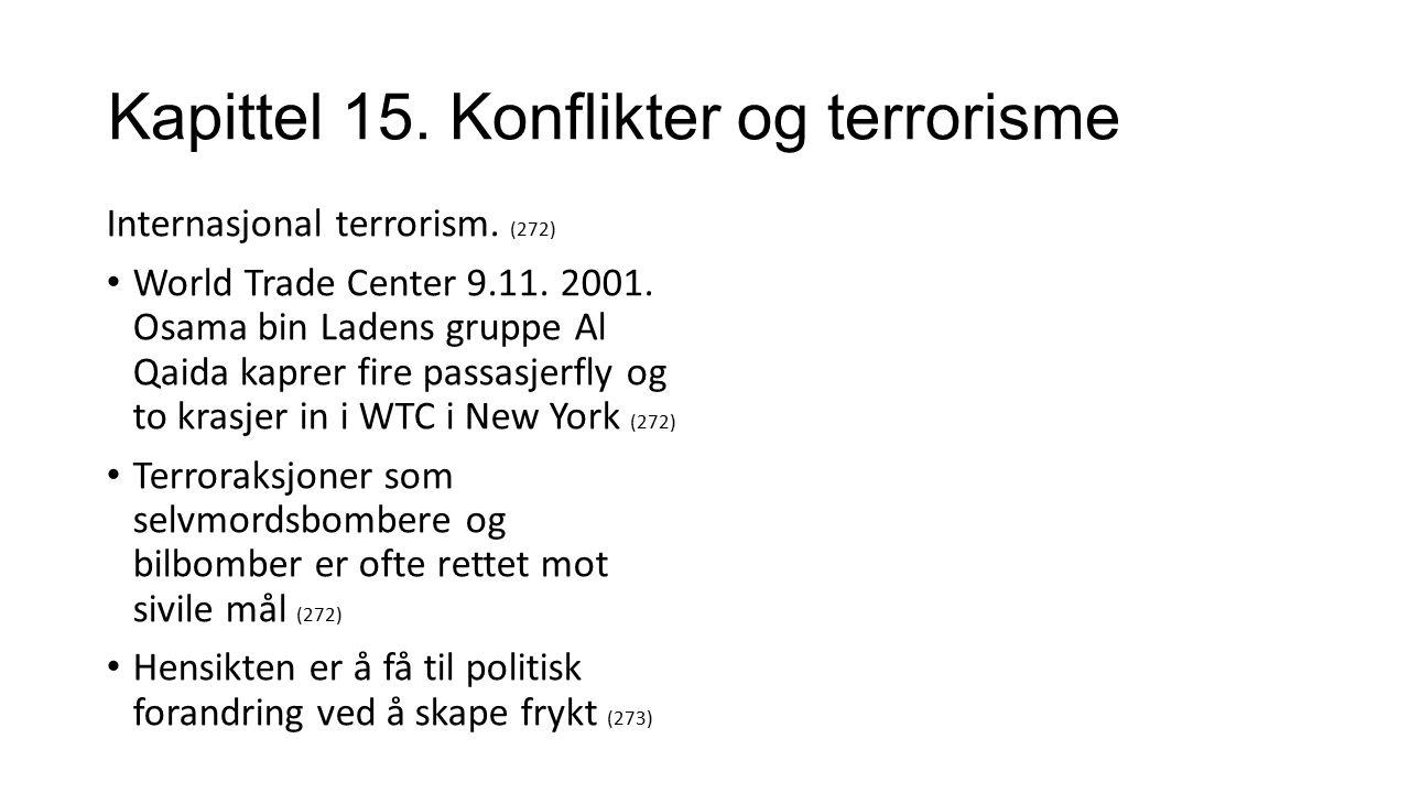 Kapittel 15. Konflikter og terrorisme Internasjonal terrorism.