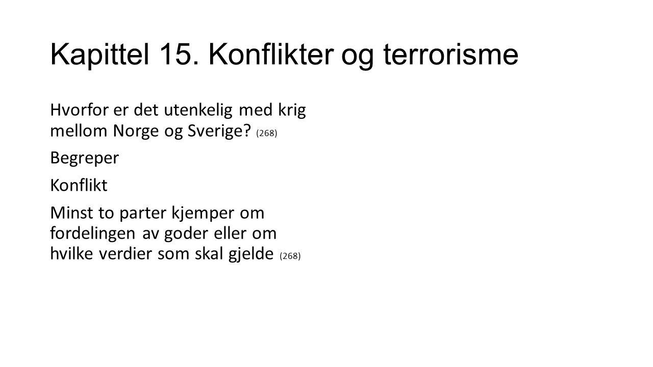 Kapittel 15. Konflikter og terrorisme Hvorfor er det utenkelig med krig mellom Norge og Sverige.