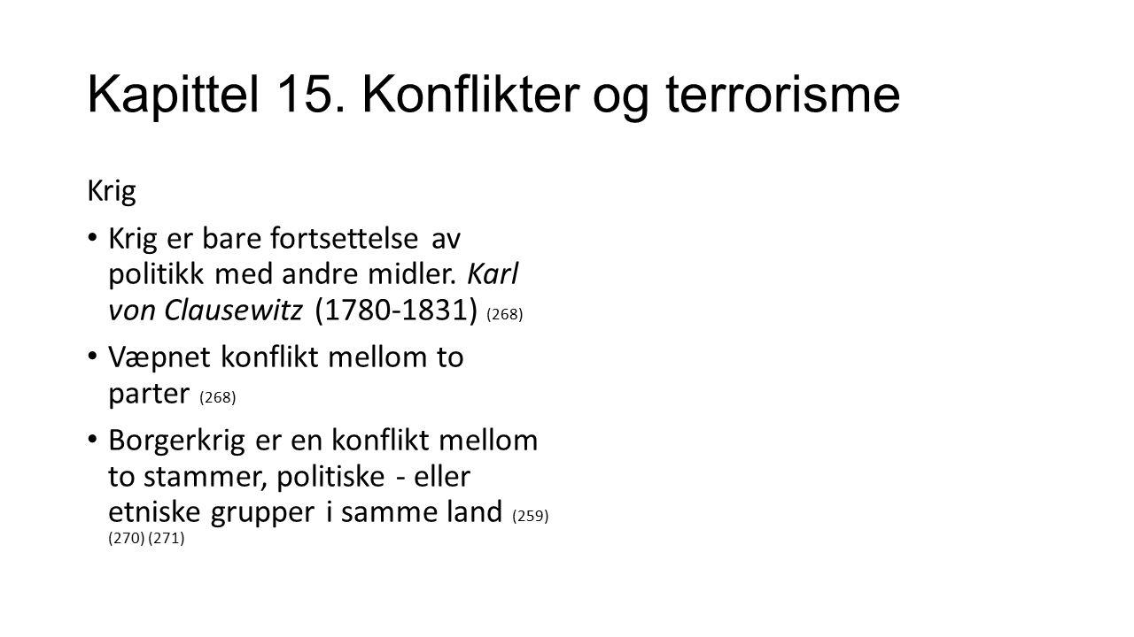 Kapittel 15. Konflikter og terrorisme Krig Krig er bare fortsettelse av politikk med andre midler.