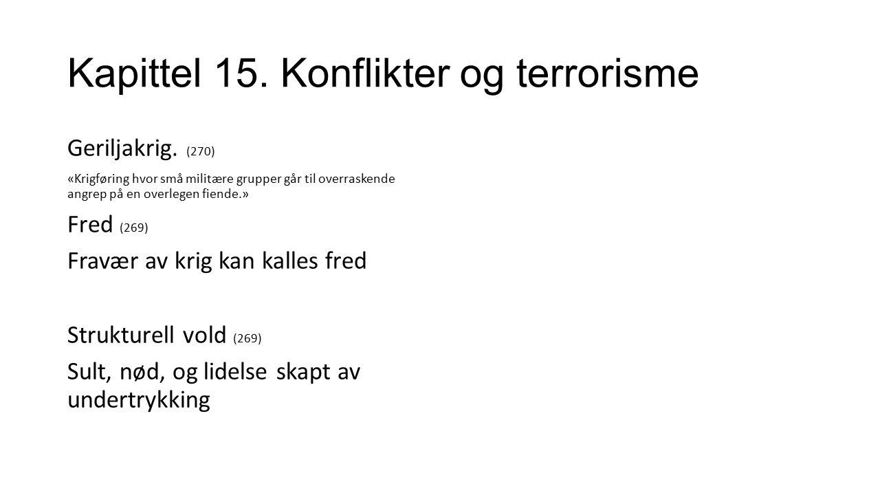 Kapittel 15. Konflikter og terrorisme Geriljakrig.