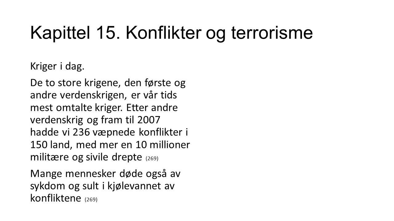 Kapittel 15. Konflikter og terrorisme Kriger i dag.