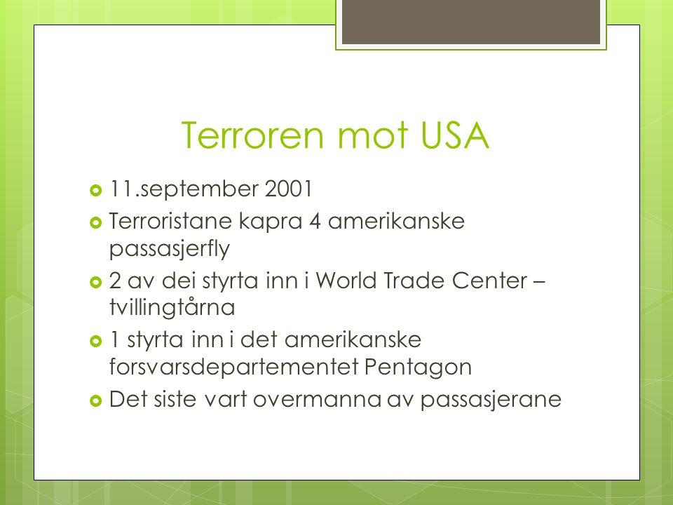 Terroren mot USA  11.september 2001  Terroristane kapra 4 amerikanske passasjerfly  2 av dei styrta inn i World Trade Center – tvillingtårna  1 styrta inn i det amerikanske forsvarsdepartementet Pentagon  Det siste vart overmanna av passasjerane