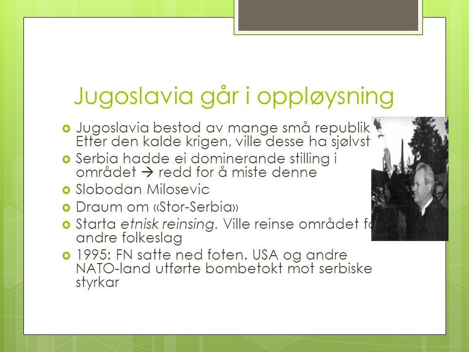 Jugoslavia går i oppløysning  Jugoslavia bestod av mange små republikkar.