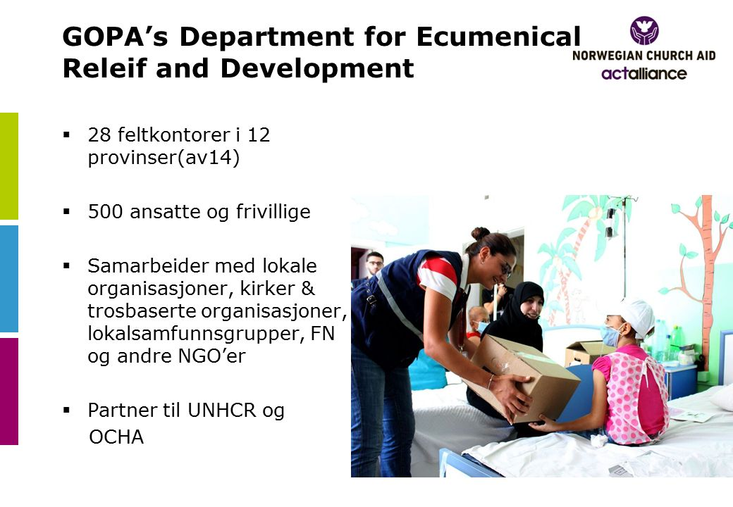 GOPA's Department for Ecumenical Releif and Development  28 feltkontorer i 12 provinser(av14)  500 ansatte og frivillige  Samarbeider med lokale organisasjoner, kirker & trosbaserte organisasjoner, lokalsamfunnsgrupper, FN og andre NGO'er  Partner til UNHCR og OCHA