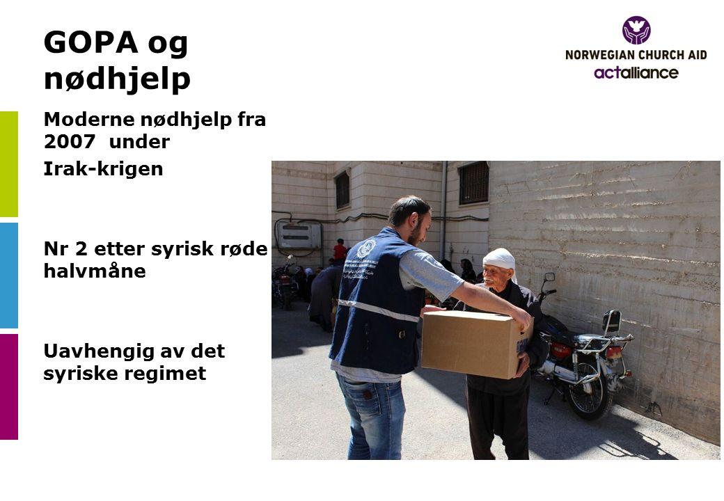 GOPA og nødhjelp Moderne nødhjelp fra 2007 under Irak-krigen Nr 2 etter syrisk røde halvmåne Uavhengig av det syriske regimet