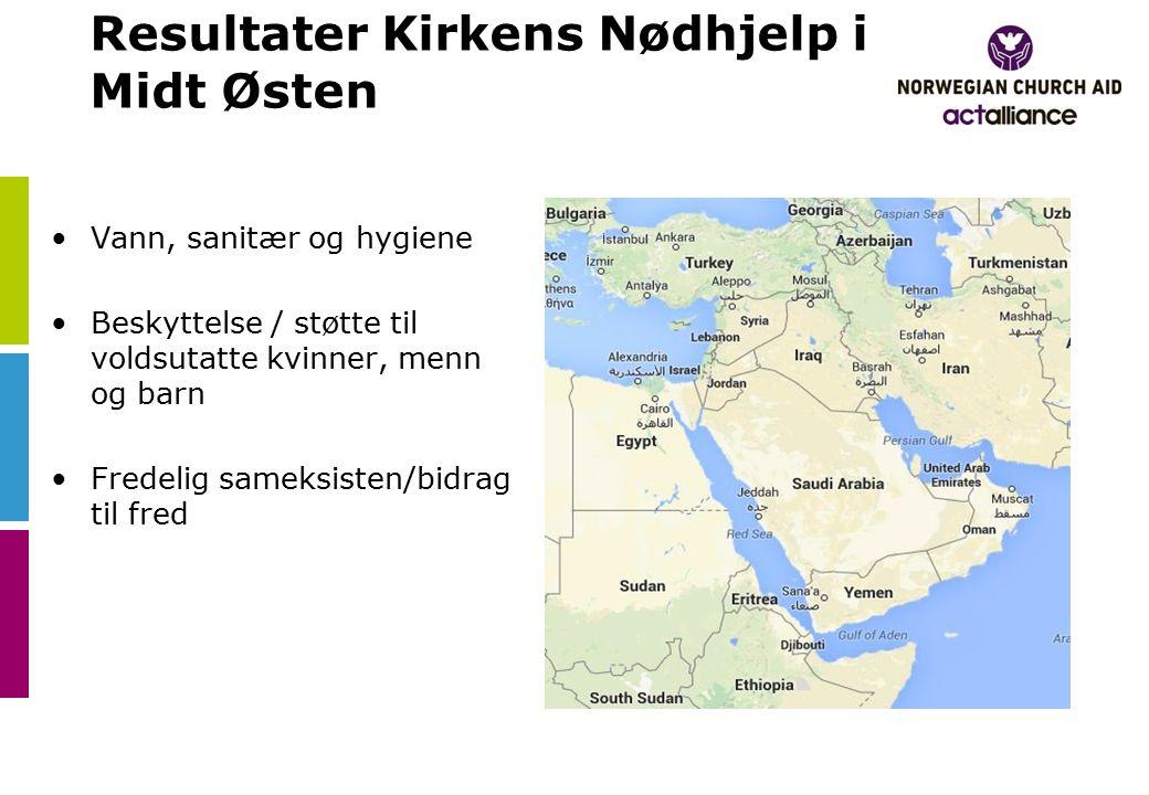 Resultater Kirkens Nødhjelp i Midt Østen Vann, sanitær og hygiene Beskyttelse / støtte til voldsutatte kvinner, menn og barn Fredelig sameksisten/bidrag til fred