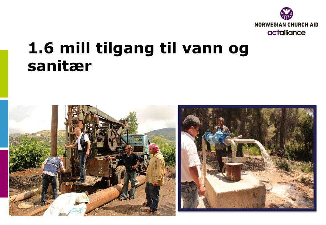 1.6 mill tilgang til vann og sanitær