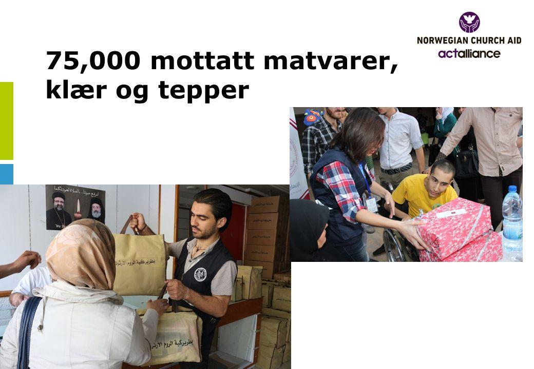75,000 mottatt matvarer, klær og tepper