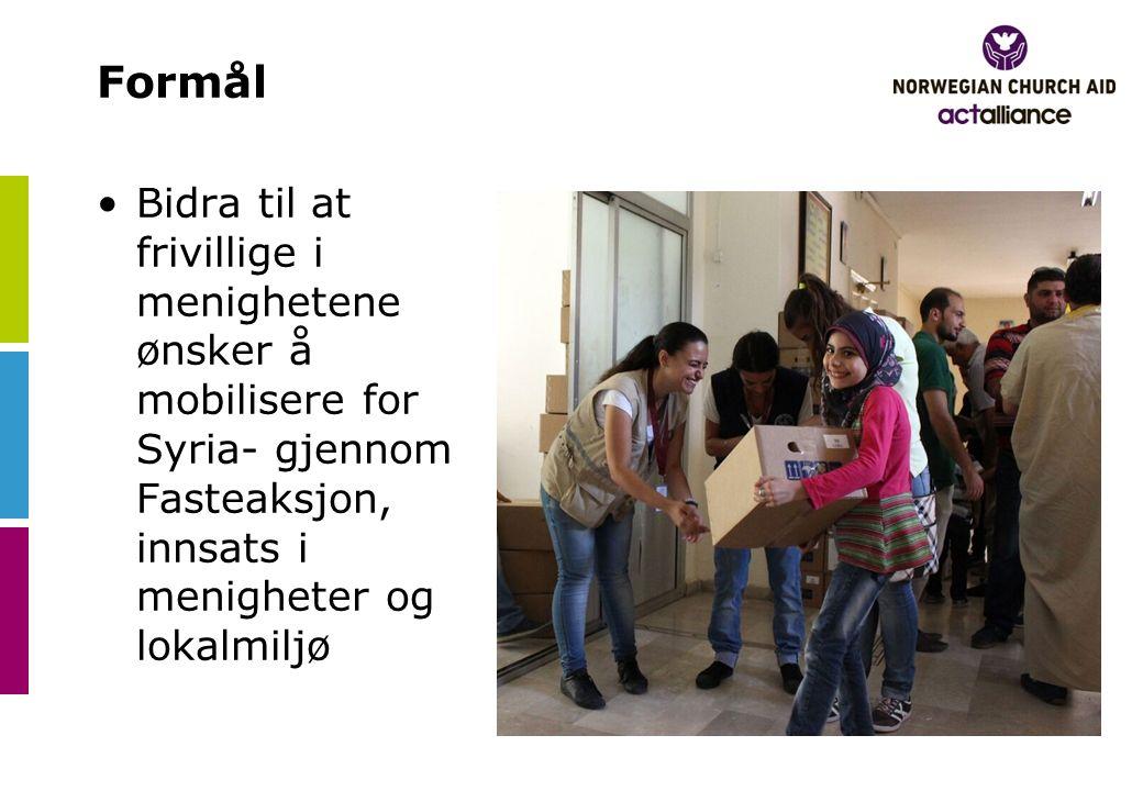 Formål Bidra til at frivillige i menighetene ønsker å mobilisere for Syria- gjennom Fasteaksjon, innsats i menigheter og lokalmiljø