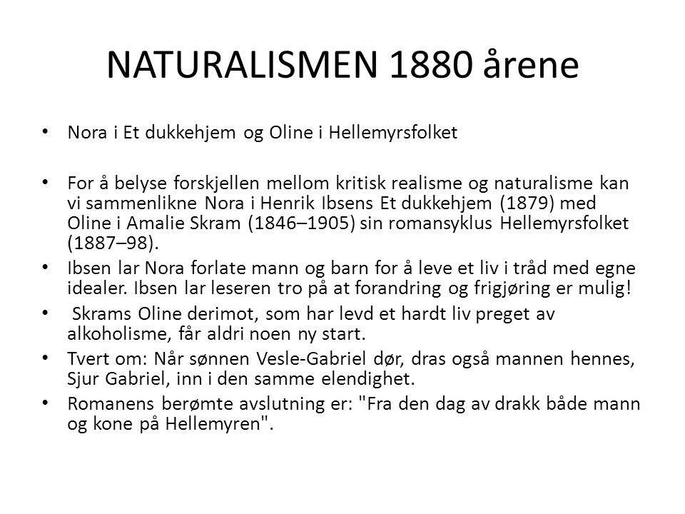 NATURALISMEN 1880 årene Nora i Et dukkehjem og Oline i Hellemyrsfolket For å belyse forskjellen mellom kritisk realisme og naturalisme kan vi sammenli