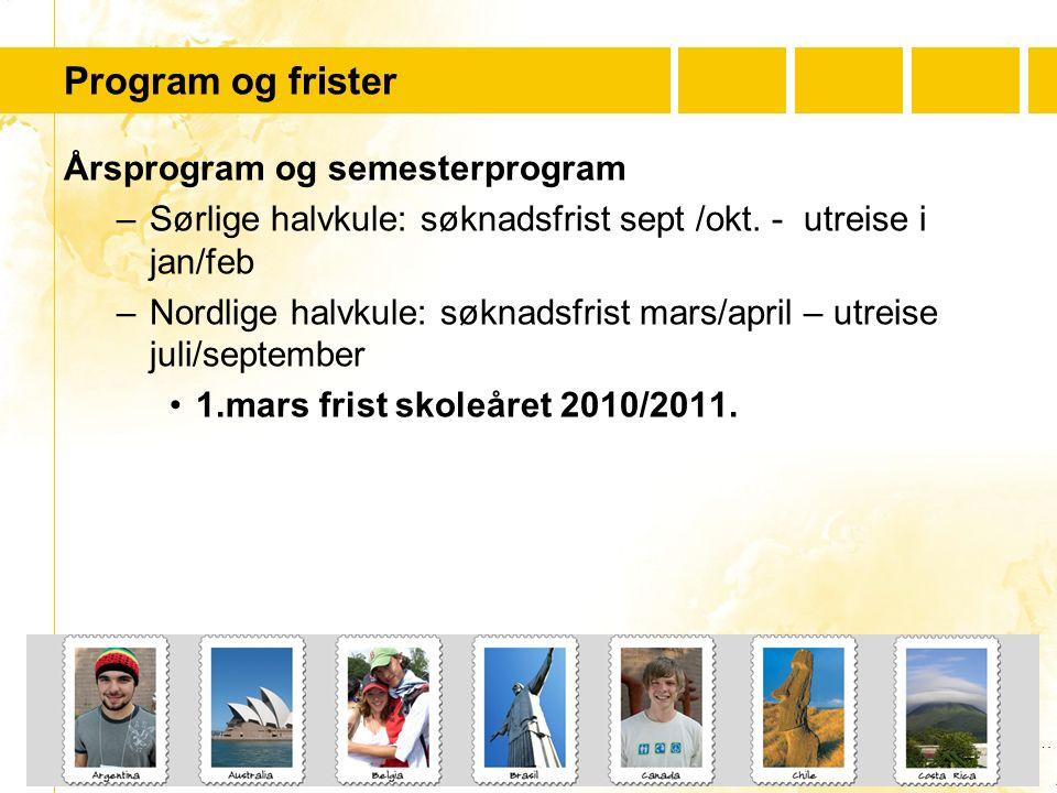 …..…. Youth For Understanding www.yfu.no Program og frister Årsprogram og semesterprogram –Sørlige halvkule: søknadsfrist sept /okt. - utreise i jan/f