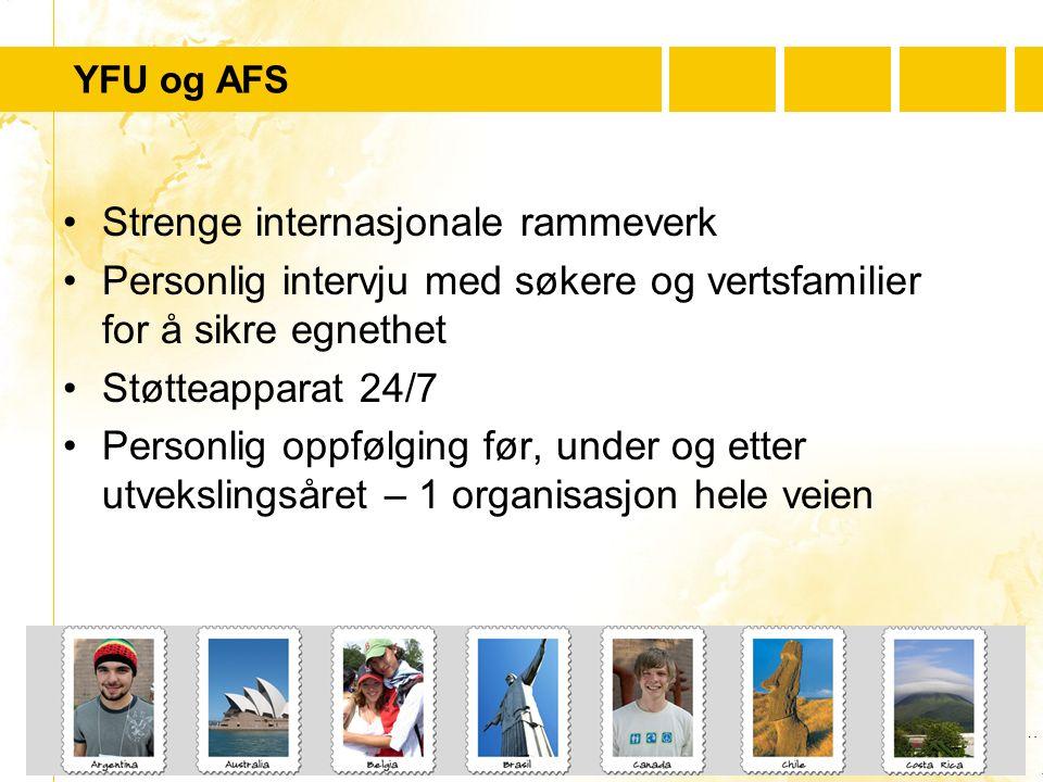 …..…. Youth For Understanding www.yfu.no YFU og AFS Strenge internasjonale rammeverk Personlig intervju med søkere og vertsfamilier for å sikre egneth
