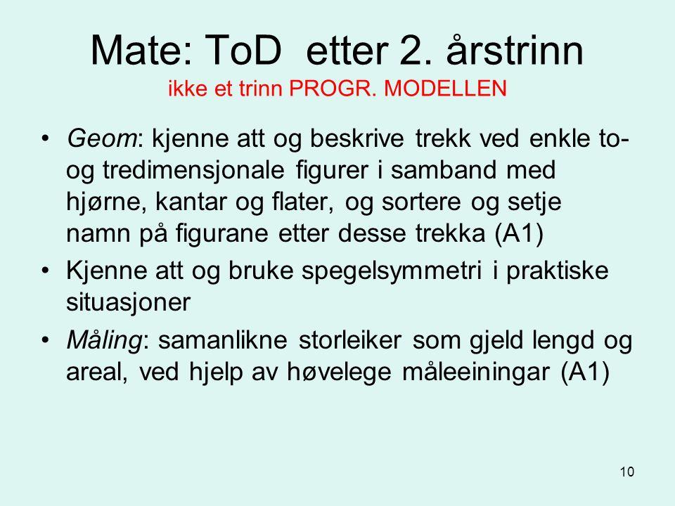 10 Mate: ToD etter 2. årstrinn ikke et trinn PROGR.