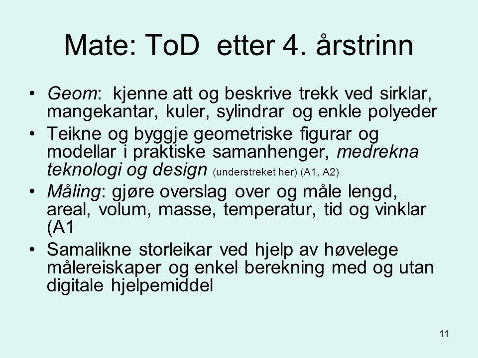 11 Mate: ToD etter 4.