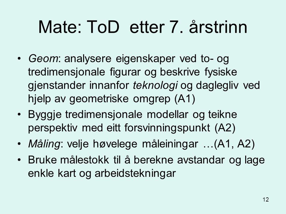 12 Mate: ToD etter 7.