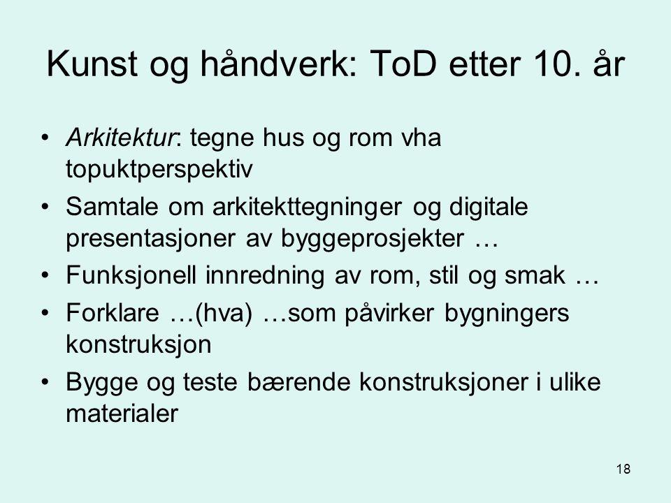18 Kunst og håndverk: ToD etter 10.