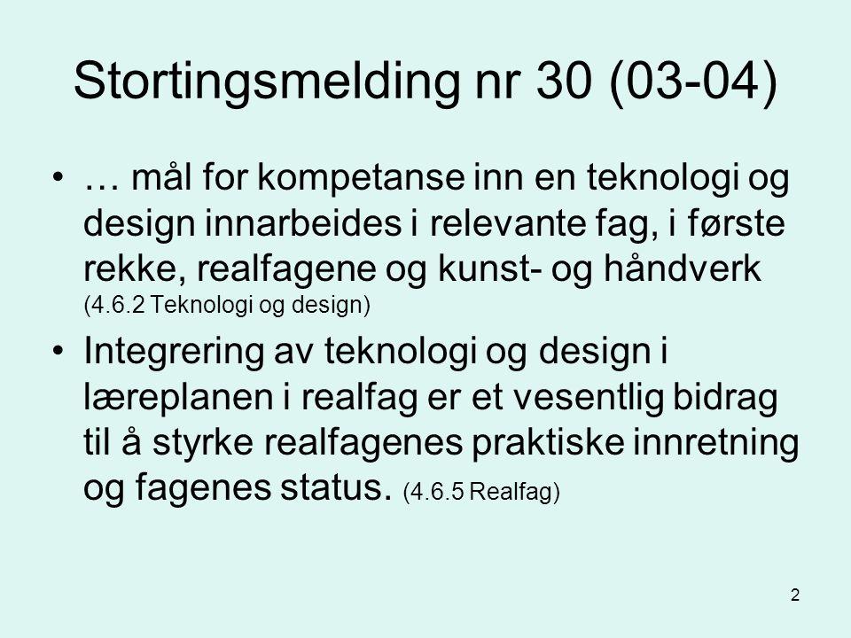 2 Stortingsmelding nr 30 (03-04) … mål for kompetanse inn en teknologi og design innarbeides i relevante fag, i første rekke, realfagene og kunst- og håndverk (4.6.2 Teknologi og design) Integrering av teknologi og design i læreplanen i realfag er et vesentlig bidrag til å styrke realfagenes praktiske innretning og fagenes status.