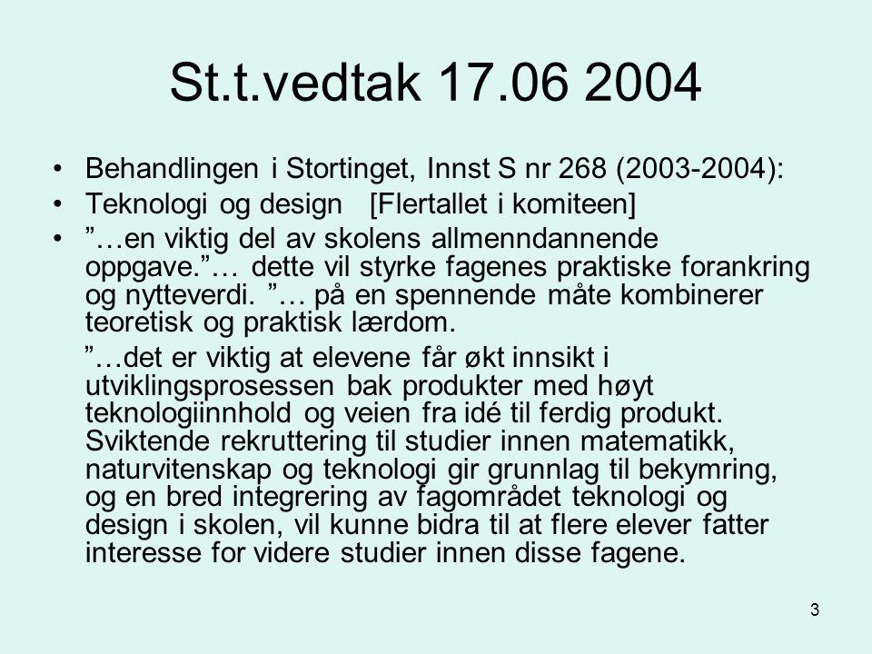 3 St.t.vedtak 17.06 2004 Behandlingen i Stortinget, Innst S nr 268 (2003-2004): Teknologi og design [Flertallet i komiteen] …en viktig del av skolens allmenndannende oppgave. … dette vil styrke fagenes praktiske forankring og nytteverdi.