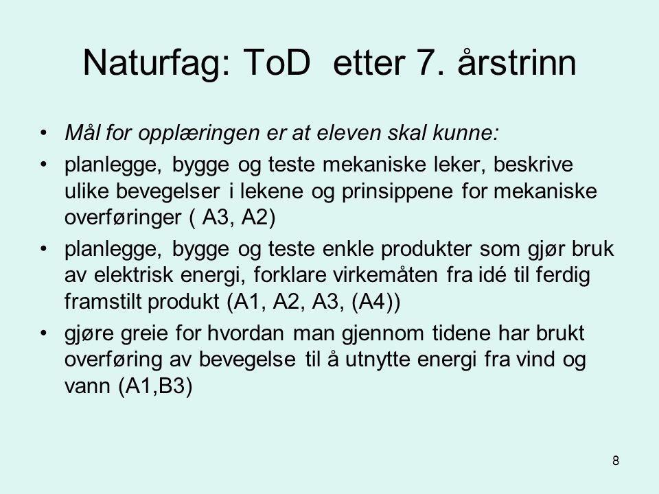 8 Naturfag: ToD etter 7.