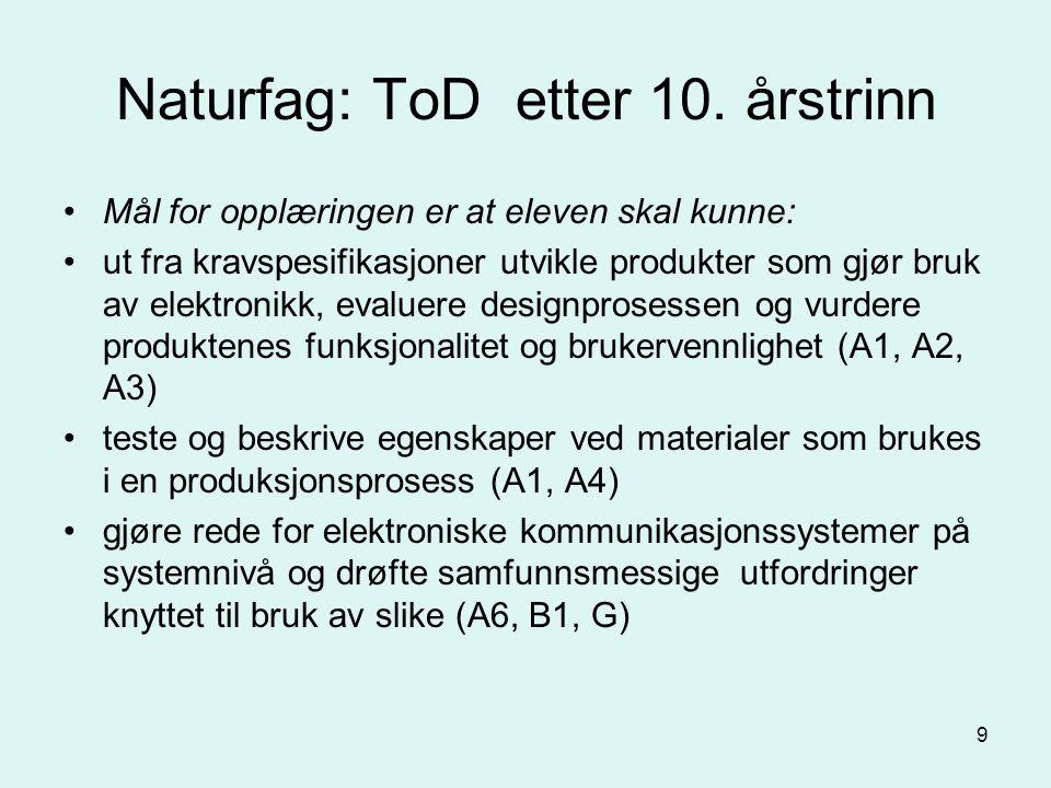 9 Naturfag: ToD etter 10.