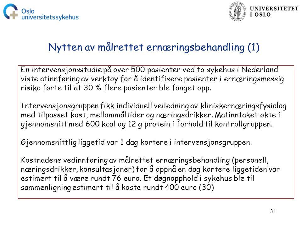 31 Nytten av målrettet ernæringsbehandling (1) En intervensjonsstudie på over 500 pasienter ved to sykehus i Nederland viste atinnføring av verktøy for å identifisere pasienter i ernæringsmessig risiko førte til at 30 % flere pasienter ble fanget opp.
