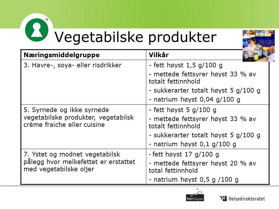 Vegetabilske produkter NæringsmiddelgruppeVilkår 3. Havre-, soya- eller risdrikker- fett høyst 1,5 g/100 g - mettede fettsyrer høyst 33 % av totalt fe