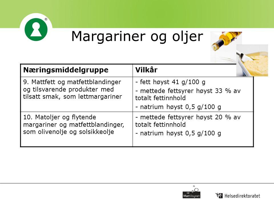Margariner og oljer NæringsmiddelgruppeVilkår 9. Mattfett og matfettblandinger og tilsvarende produkter med tilsatt smak, som lettmargariner - fett hø