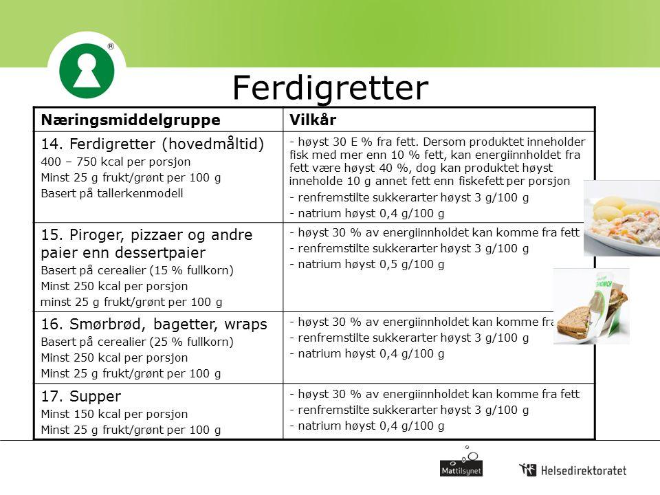 Ferdigretter NæringsmiddelgruppeVilkår 14. Ferdigretter (hovedmåltid) 400 – 750 kcal per porsjon Minst 25 g frukt/grønt per 100 g Basert på tallerkenm
