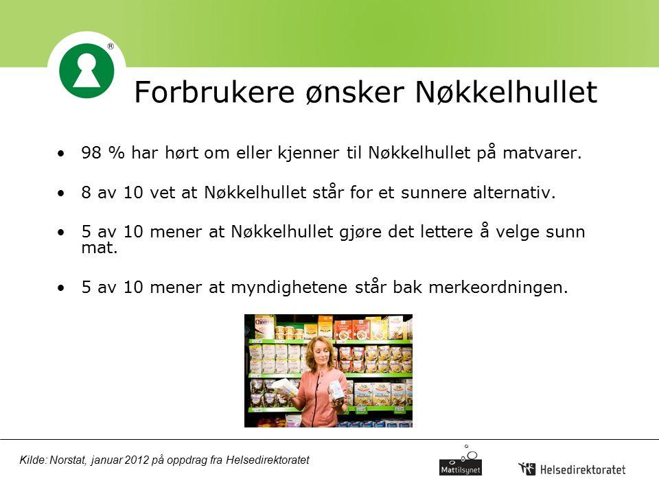 Forbrukere ønsker Nøkkelhullet 98 % har hørt om eller kjenner til Nøkkelhullet på matvarer. 8 av 10 vet at Nøkkelhullet står for et sunnere alternativ