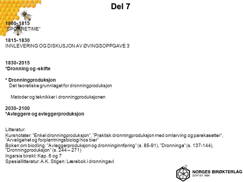 """Del 7 1800- 1815 """"SPØRRETIME"""" 1815- 1830 INNLEVERING OG DISKUSJON AV ØVINGSOPPGAVE 3 1830- 2015 *Dronning og -skifte * Dronningproduksjon Det teoretis"""