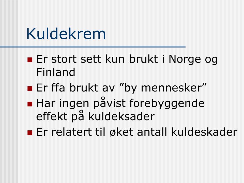 Kuldekrem Er stort sett kun brukt i Norge og Finland Er ffa brukt av by mennesker Har ingen påvist forebyggende effekt på kuldeksader Er relatert til øket antall kuldeskader