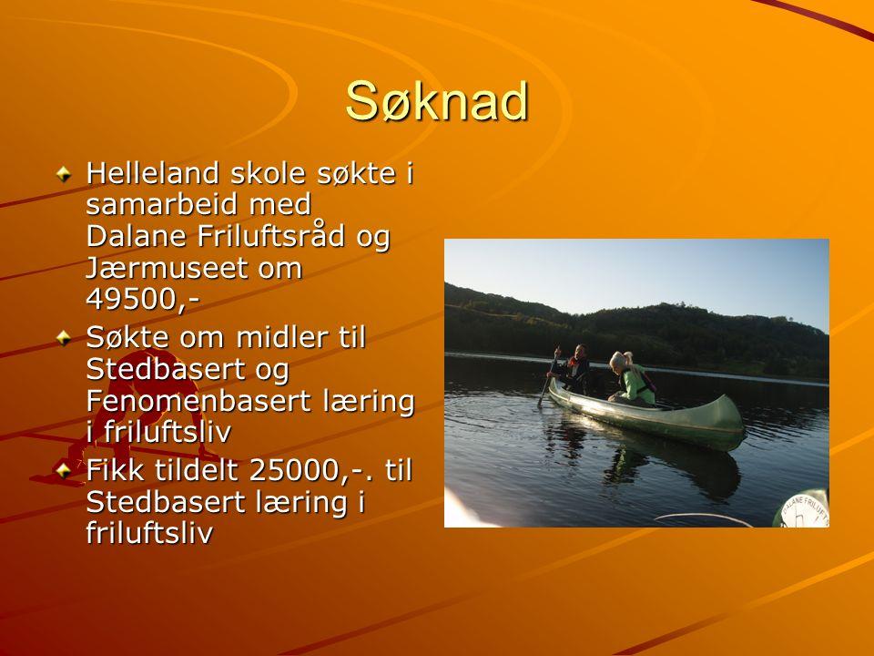 Søknad Helleland skole søkte i samarbeid med Dalane Friluftsråd og Jærmuseet om 49500,- Søkte om midler til Stedbasert og Fenomenbasert læring i friluftsliv Fikk tildelt 25000,-.