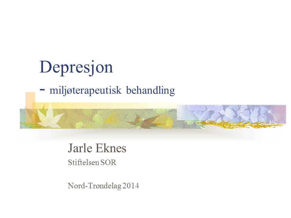 Depresjon - miljøterapeutisk behandling Jarle Eknes Stiftelsen SOR Nord-Trøndelag 2014