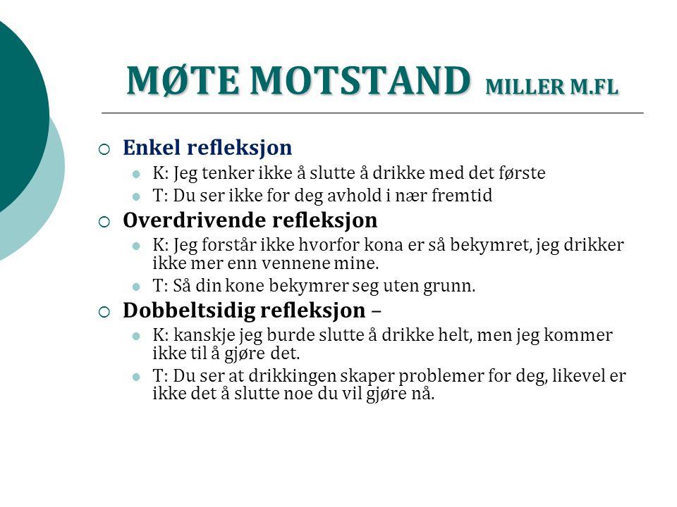 MØTE MOTSTAND MILLER M.FL  Enkel refleksjon K: Jeg tenker ikke å slutte å drikke med det første T: Du ser ikke for deg avhold i nær fremtid  Overdri