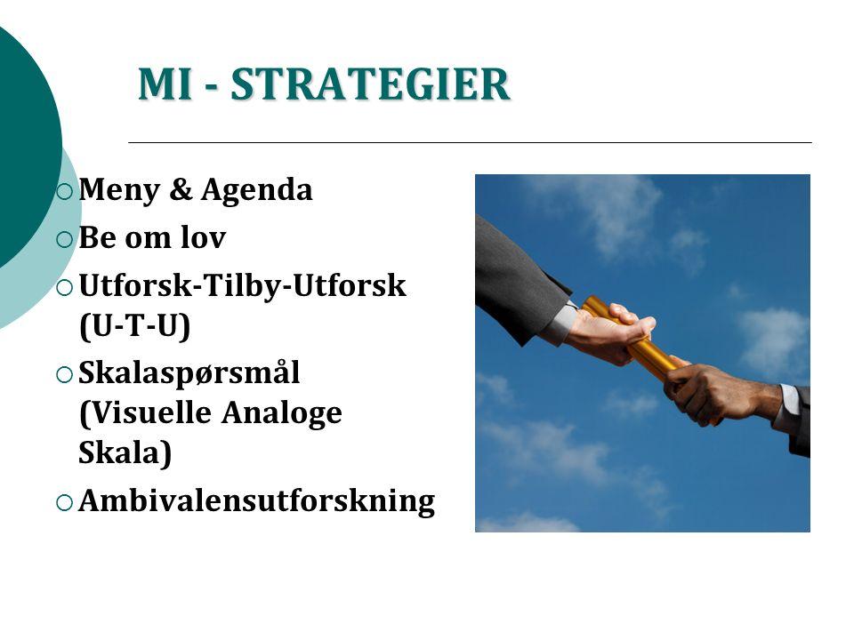 MI - STRATEGIER  Meny & Agenda  Be om lov  Utforsk-Tilby-Utforsk (U-T-U)  Skalaspørsmål (Visuelle Analoge Skala)  Ambivalensutforskning