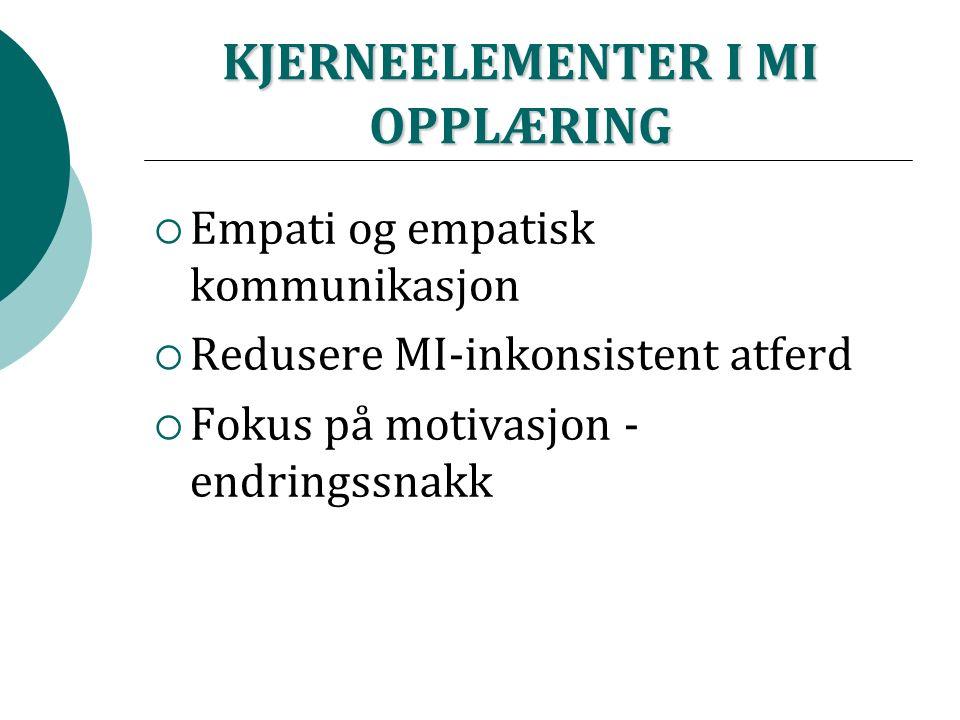 KJERNEELEMENTER I MI OPPLÆRING  Empati og empatisk kommunikasjon  Redusere MI-inkonsistent atferd  Fokus på motivasjon - endringssnakk