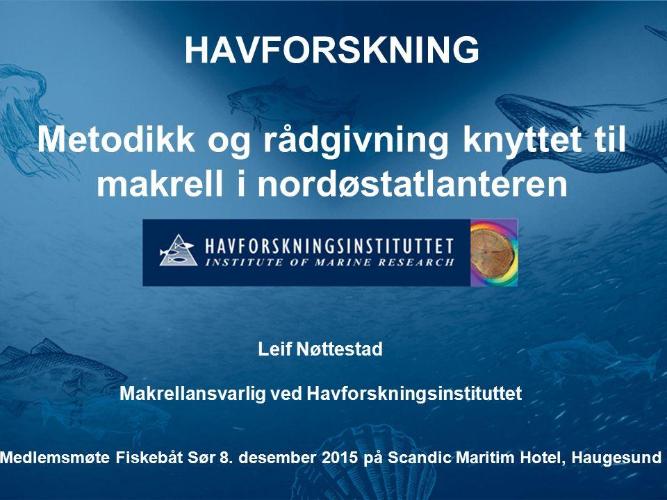 HAVFORSKNING Metodikk og rådgivning knyttet til makrell i nordøstatlanteren Leif Nøttestad Makrellansvarlig ved Havforskningsinstituttet Medlemsmøte Fiskebåt Sør 8.