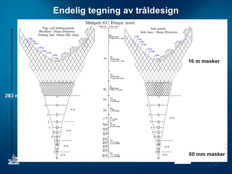 Endelig tegning av tråldesign 16 m masker 60 mm masker 283 m