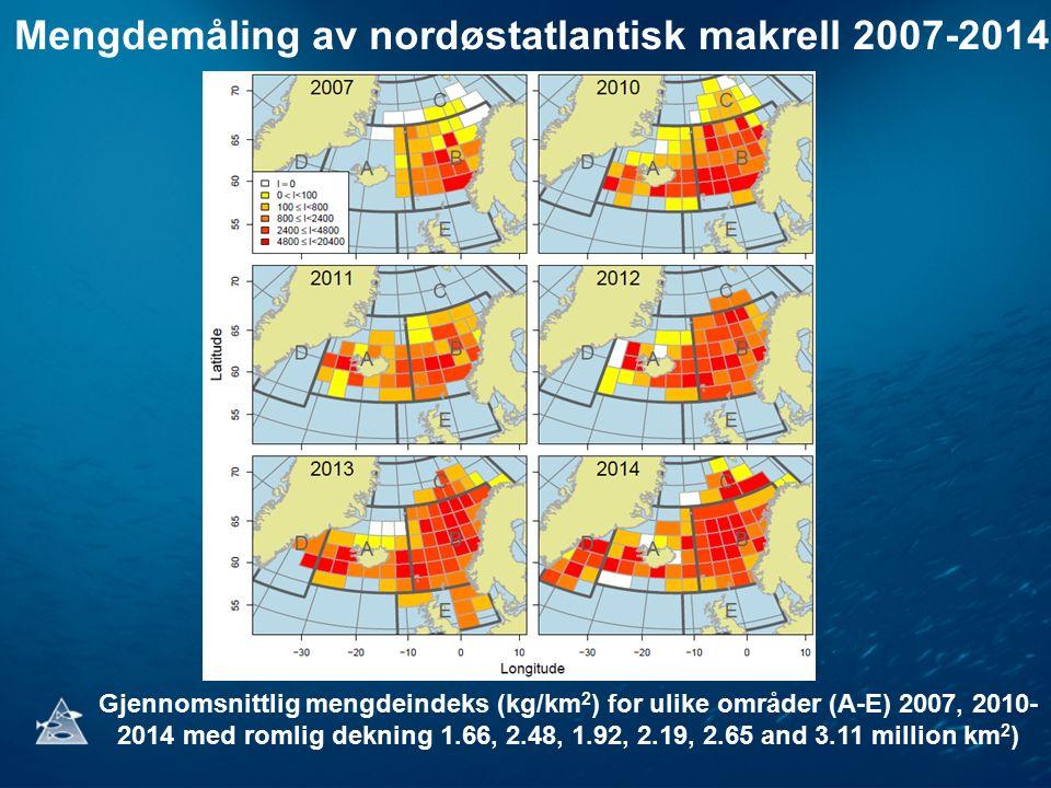 Mengdemåling av nordøstatlantisk makrell 2007-2014 Gjennomsnittlig mengdeindeks (kg/km 2 ) for ulike områder (A-E) 2007, 2010- 2014 med romlig dekning 1.66, 2.48, 1.92, 2.19, 2.65 and 3.11 million km 2 )