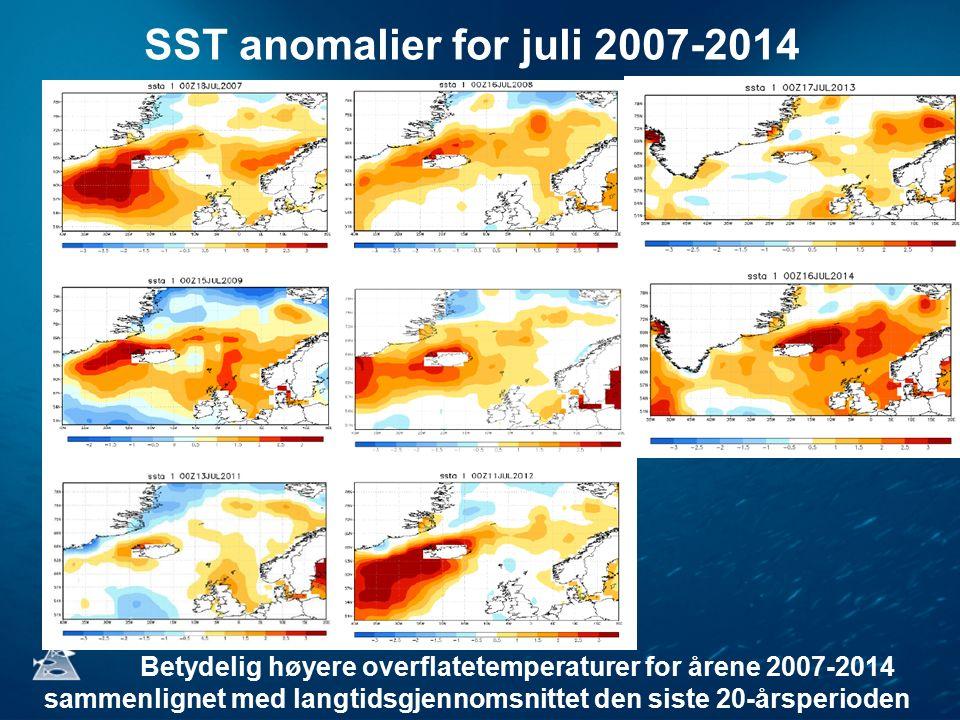 SST anomalier for juli 2007-2014 Betydelig høyere overflatetemperaturer for årene 2007-2014 sammenlignet med langtidsgjennomsnittet den siste 20-årsperioden