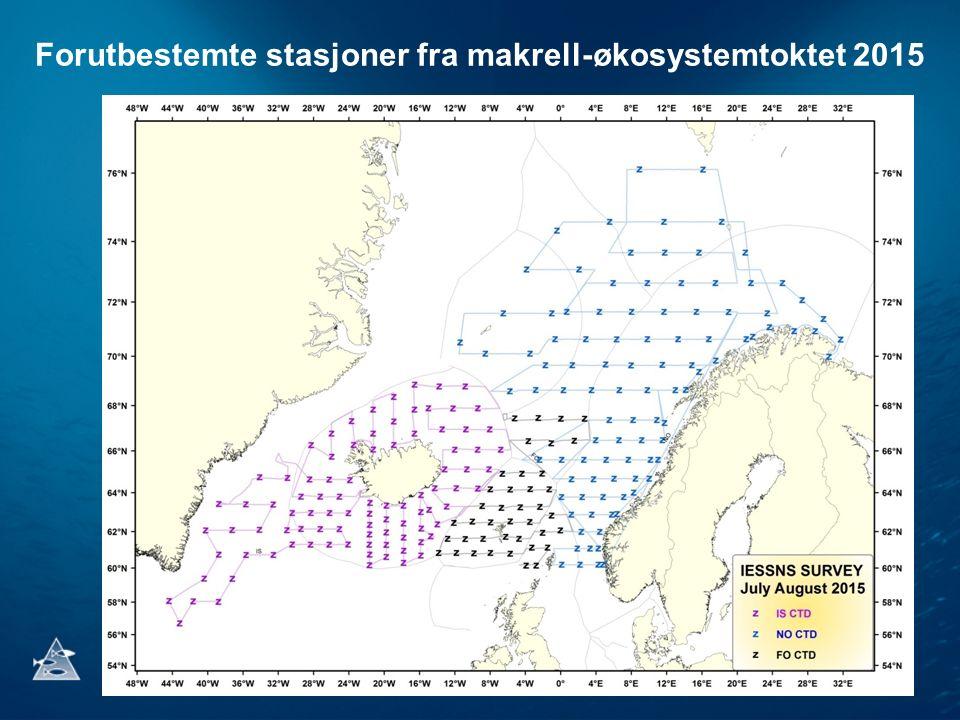 Forutbestemte stasjoner fra makrell-økosystemtoktet 2015