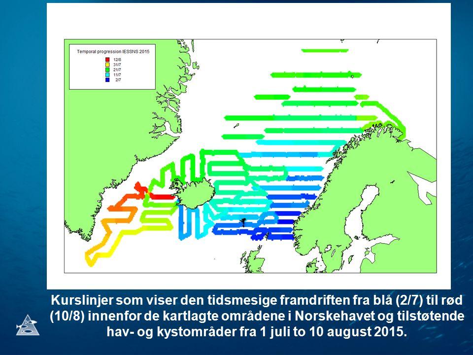 Kurslinjer som viser den tidsmesige framdriften fra blå (2/7) til rød (10/8) innenfor de kartlagte områdene i Norskehavet og tilstøtende hav- og kystområder fra 1 juli to 10 august 2015.