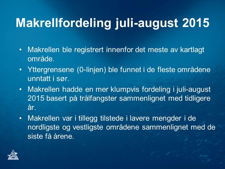 Makrellfordeling juli-august 2015 Makrellen ble registrert innenfor det meste av kartlagt område. Yttergrensene (0-linjen) ble funnet i de fleste områ
