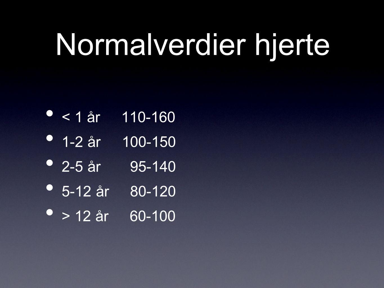 Normalverdier RR < 1 år 30-40 1-2 år 25-35 2-5 år 25-30 5-12 år 20-25 > 12 år 15-20 Alltid måle frekvens i hvile eller under søvn.