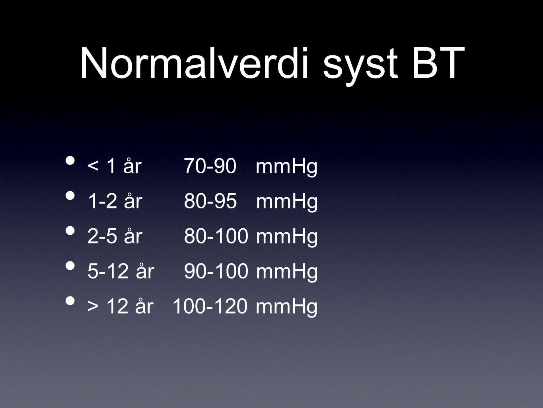Normalverdi syst BT < 1 år 70-90 mmHg 1-2 år 80-95 mmHg 2-5 år 80-100 mmHg 5-12 år 90-100 mmHg > 12 år 100-120 mmHg