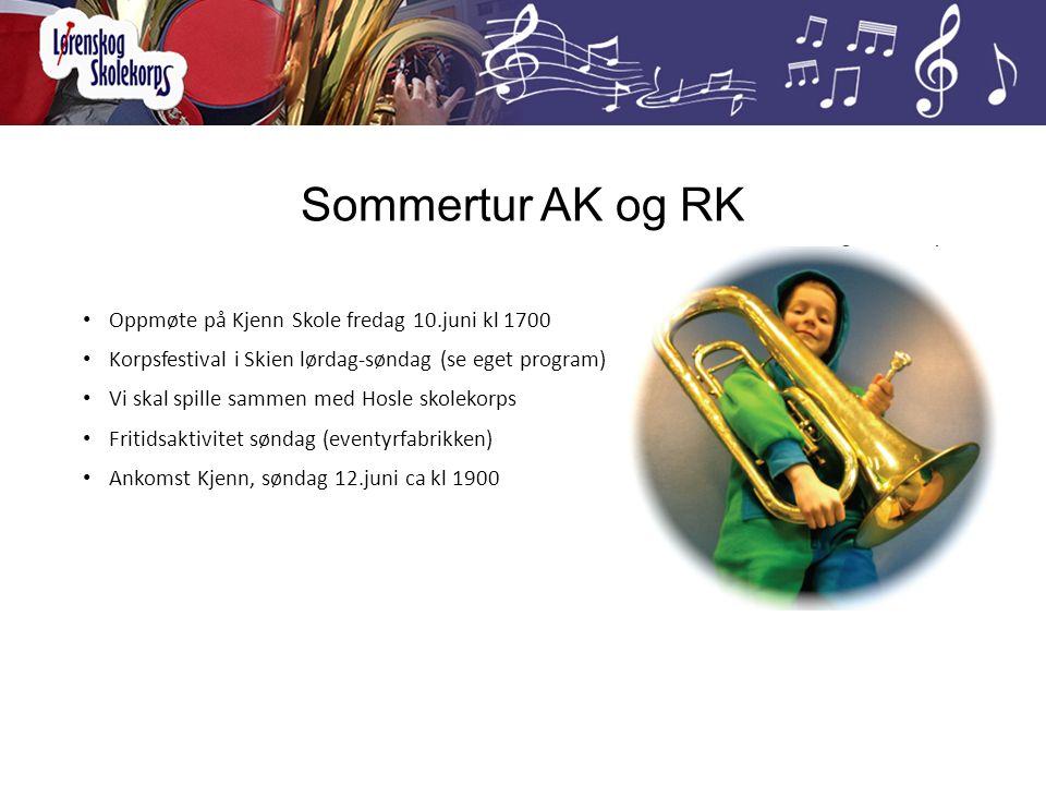Sommertur AK og RK Oppmøte på Kjenn Skole fredag 10.juni kl 1700 Korpsfestival i Skien lørdag-søndag (se eget program) Vi skal spille sammen med Hosle