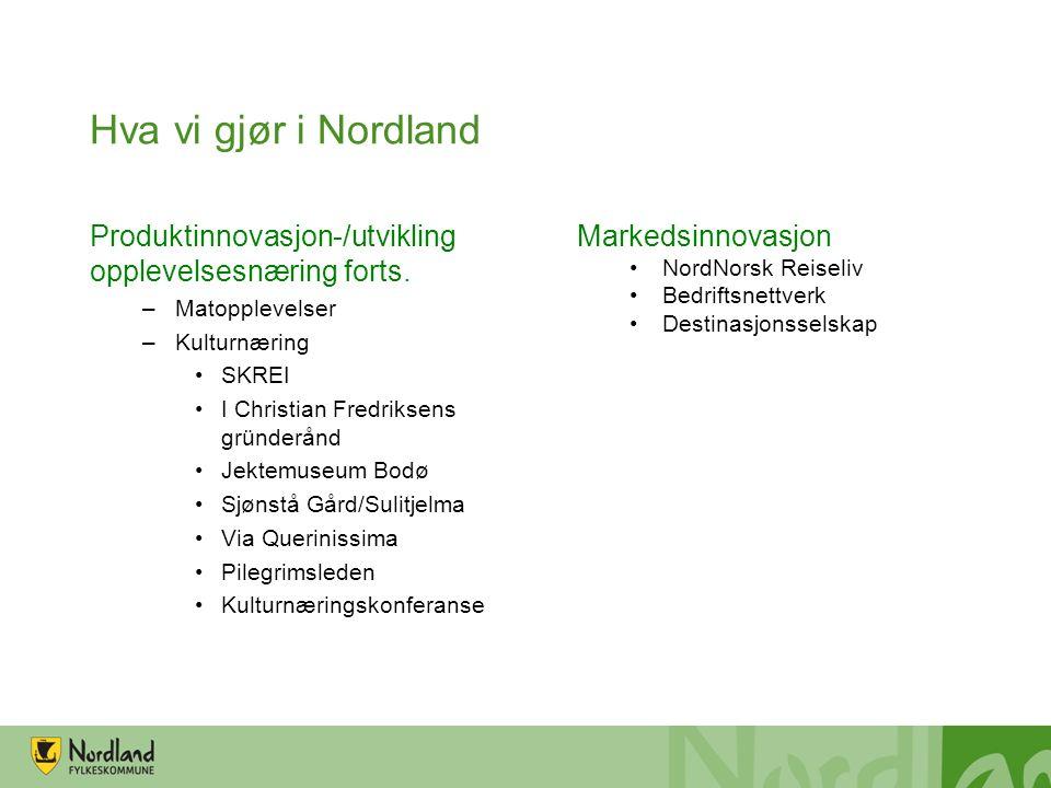 Hva vi gjør i Nordland Produktinnovasjon-/utvikling opplevelsesnæring forts.